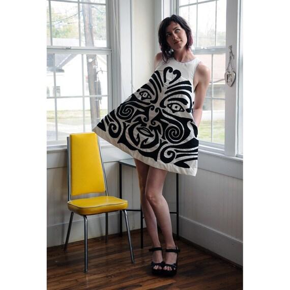 Maori Mini Dress Custom Handsewn Applique EcoFashion