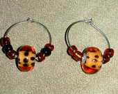 Set of 2 wine charms - brown polka dot