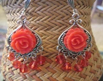 Chandelier Earrings, Dangle Earrings, Coral and Crystal Earrings, Flower Earrings, Paparadascha Crystal Earrings, Filigree, PEACH BLOSSOM