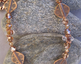 Copper and Crystal Necklace, Topaz Swarovski Crystals, Copper Accents, Handmade Lampwork Beads, COPPER CANYON