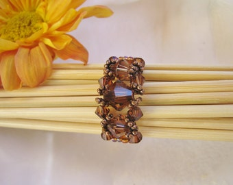 Smoky Topaz Beadwork Ring, November Birthday, Swarovski Crystal Ring, Seed Bead Ring, RUSSET