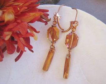 Citrine Topaz Dangle and Drop Earrings, Cosmic Crystal Earrings, Topaz Swarovski Crystal Earrings, November Birthday, LIGHT PLAY