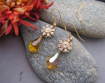 Topaz Crystal Dangle Drop Earrings, Rhinestone Dangle Earrings, Swarovski Crystal Earrings, Topaz Earrings, November Birthday, BRILLIANCE