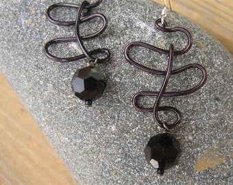 After Midnight Earrings, Handmade Wire Wrapped Black Wire, Jet Hematite Swarovski Crystals