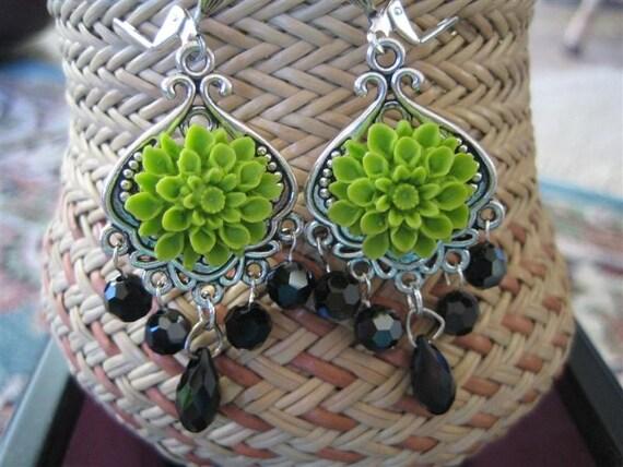 Chandelier Earrings, Flower Earrings, Lime Green Earrings, Crystals, Lucite Flower Earrings, August Birthday, Free Shipping USA, VICTORIA