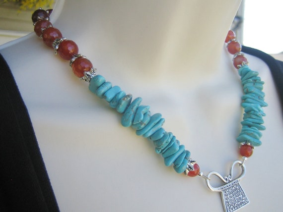 Tibetan Necklace, Tribal, Turquoise Necklace, Buddhist Tablet Necklace, Turquoise and Carnelian Necklace, Hill Tribes Silver Pendant, ZEN