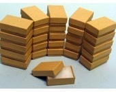 100 Pack of 3.25X2.25X1 Inch Size Kraft Paper Cotton Filled Jewelry Presentation Boxes