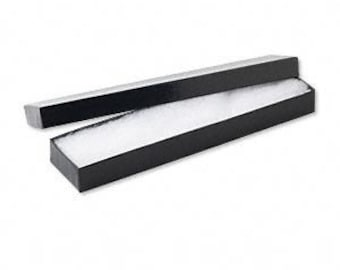 20 Pack Black Glossy Color Cotton Filled 8X2X1 Inch Size Retail Jewelry Gift Presentation Boxes