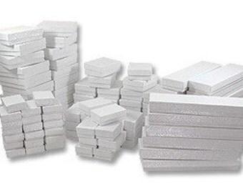 25 Box Assortment White Cotton Filled Jewelry Presentation Boxes