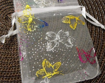 12 Pack Multiple Color Butterfly White Sheer Organza 2.75 X 3 inch Draw String Bags