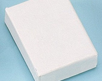 100 Pack of 2.5X1.5X1 Inch Size White Cotton Filled Jewelry Gift Merchandise Boxes