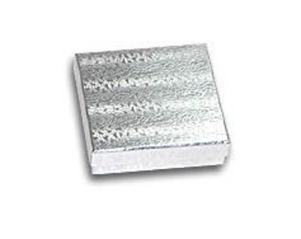 20 Pack Silver Foil 3.5 X 3.5 X 1 Inch  Size Cotton Filled Jewelry Presentation Gift Boxes