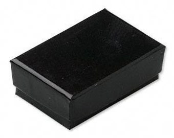 20 Pack Black Cotton Filled Jewelry Presentation Boxes 1.85X1.25X5/8 Inch Size Itty Bitty Boxes