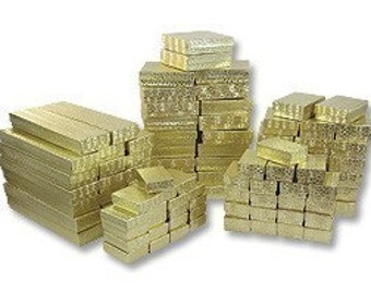 100 Assorted Gold Foil Cotton Filled Jewelry Boxes