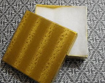 10 Pack Gold Foil Cotton Filled Presentation Jewelry Boxes 3.5X3.5X1 Inch Size