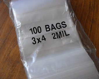 100 Pack White Block Zip Top Poly Pags 3 x 4 Inch Size Great for Beads,collectibles,stamps, etc.