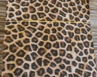 100 Pack 6 X 9 Inch Black and Brown Cheetah Animal Print Flat Paper Merchandise Bags