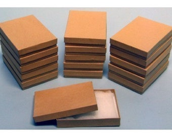 20 Pack Cotton Filled Kraft Color Jewelry Gift and Retail Boxes 5.25 X 3.75 X 1 Inch Size