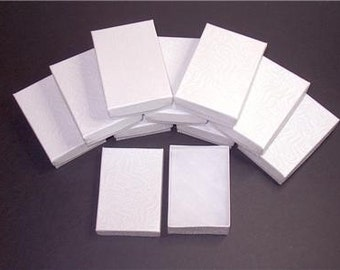 100 Pack White Color Cotton Filled 3.25 X 2.25 X 1 Inch Size Retail Jewelry Gift Presentation Boxes