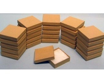 50 Pack Kraft 3.5 X 3.5 X 1 Inch  Size Cotton Filled Jewelry Presentation Gift Boxes