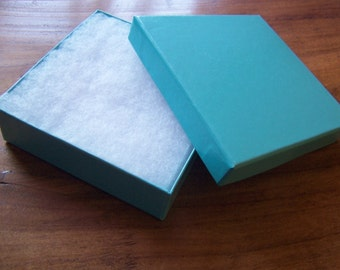 50 Pack 3.5X3.5X1 Inch Teal Cotton Filled Jewelry Gift Presentation Boxes