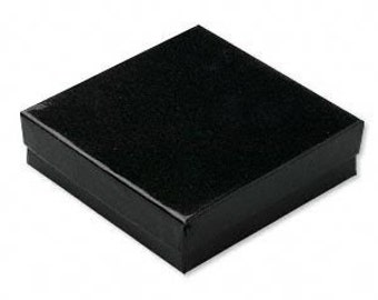 20 Glossy Black Cotton Filled Jewelry Display Presentation Boxes 3.5X3.5X1 Inch Size