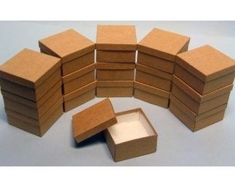 50 Pack Kraft Color Deep Cotton Filled Jewelry Retail Gift Boxes 3.5 X 3.5 X 2 Inch Size Wholesale