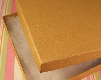 20 Pack Cotton Filled Kraft Brown Color Jewelry Gift and Retail Boxes 6.25 X 5.5 X 1 Inch Size
