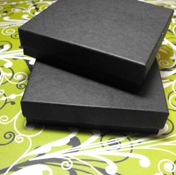 10 Pack 3.5 X 3.5 X 1 Inch Matte Black Size Cotton Filled Jewelry Presentation Gift Boxes