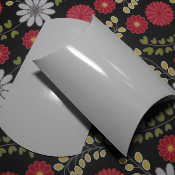 12 Pack Pretty White Smooth gloss Pillow Boxes 4 X 3.5 X 1.45 Inch Size Great Packaging for Gifts, Party Favors, and More