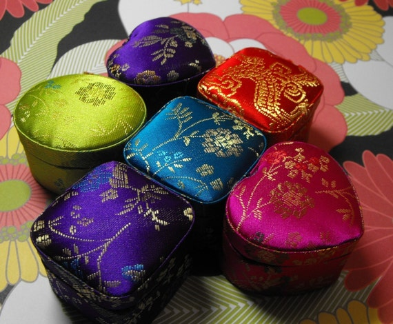 Six New Multiple Color Chinese Brocade Red Interior Lined Ring Presentation Gift Boxes SO gorgeous