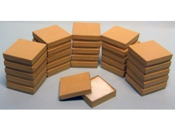 100 Pack Kraft 3.5 X 3.5 X 1 Inch  Size Cotton Filled Jewelry Presentation Gift Boxes