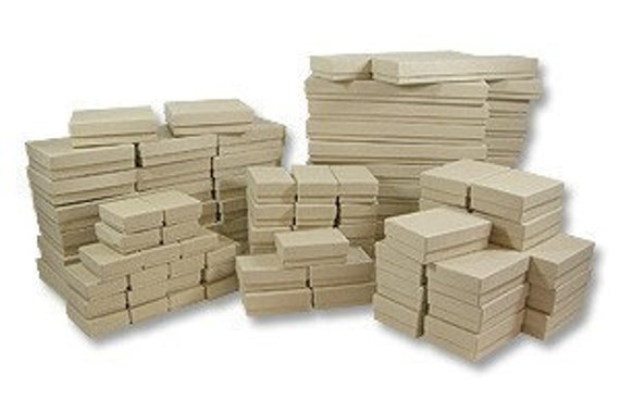 50 Box Assortment of Kraft Color Cotton Filled Jewelry Boxes