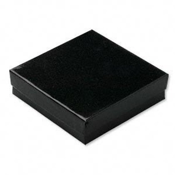 CLEARANCE 10 Glossy Black Cotton Filled Jewelry Display Presentation Boxes 3.5X3.5X1 Inch Size