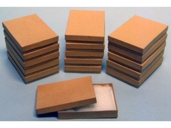50 Pack Cotton Filled Kraft Color Jewelry Gift and Retail Boxes 5.25 X 3.75 X 1 Inch Size