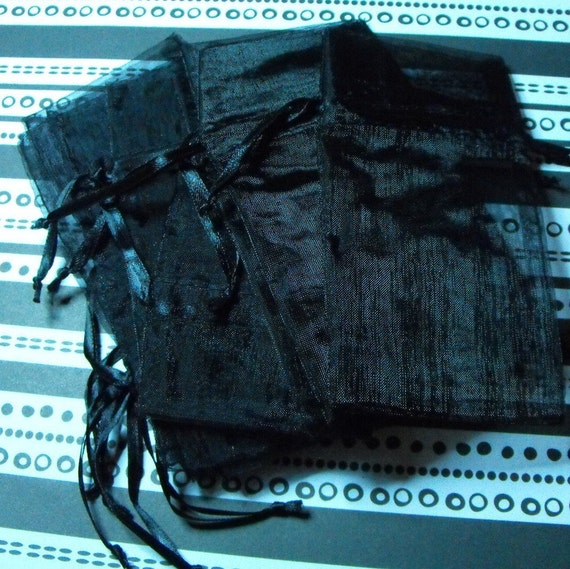 12 Pack Black Sheer Organza Drawstring Bags  Great For Halloween Time Gifts