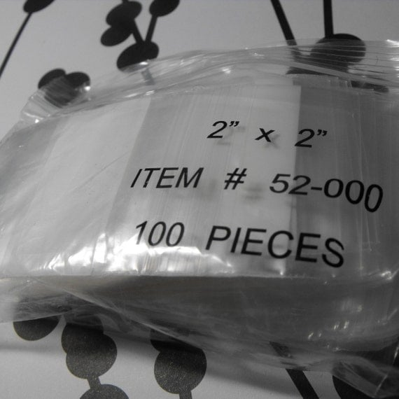 100 Pack Zip Top  White block Resealable Poly Style 2X2 Inch Bags