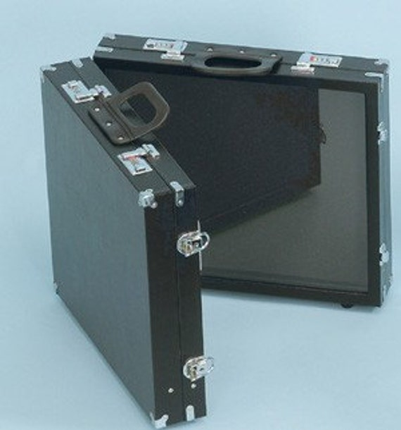 Large Two Panel Glass Top Portable Jewelry Case