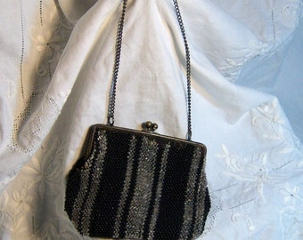 Antique  Beaded Purse 5 by 4 inches Glass Beading Silver Black