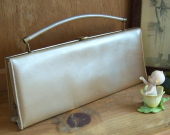 Vintage Champagne Leather Clutch Handbag with Hide Away Handle