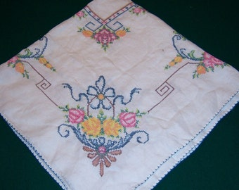 Exquisite Vintage Hand Embroidered Tablecloth
