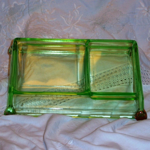 Green depression glass desk organizer tray - Glass desk organizer ...