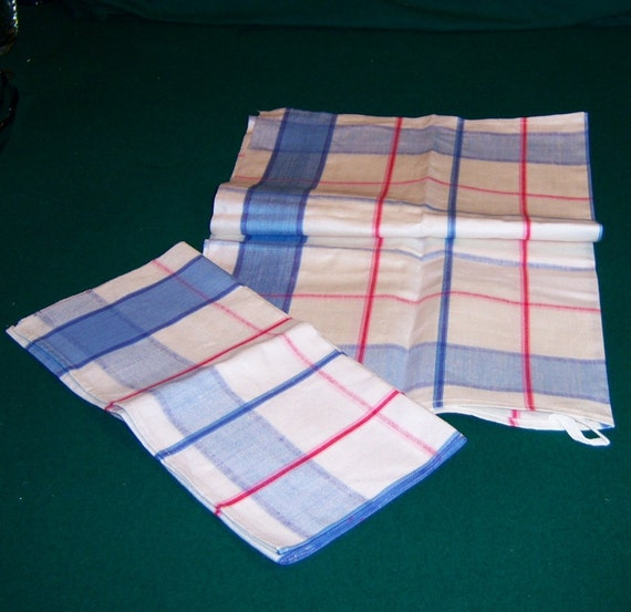 Set Of 2 Country Blue Plaid Linen Kitchen Towels New Old