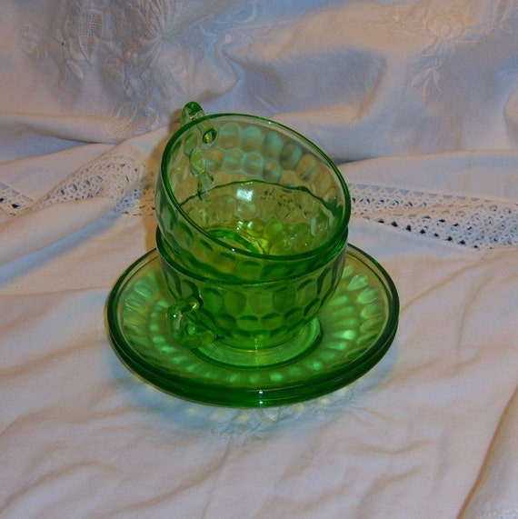 2 Green Depression Glass Cups And Saucers By Uknowuneedanother