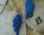 Cerulean wings 1980's  vintage metal  post earrings