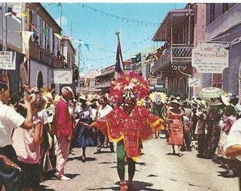 Vintage postcard/  Carnival time in St Thomas virgin islands