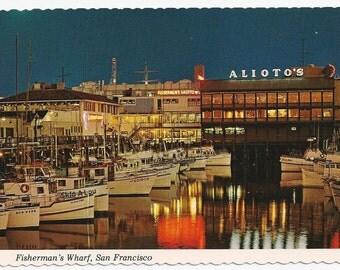 Vintage California postcard/ Fisherman's Wharf, San Francisco/ Alioto's