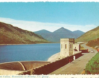 Vintage Ireland postcard/ Silent Valley, Mountains of Mourne, Co. Down