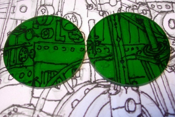 Green 2 inch Steampunk Goggle Lenses
