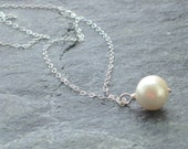 Large White Pearl Pendant Necklace